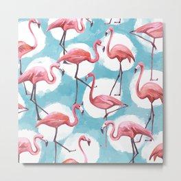 Watercolor Flamingo Blue Polka Dot Flamongoes Metal Print