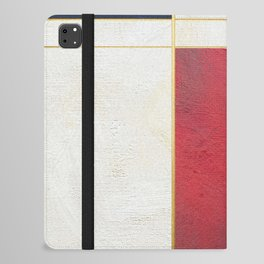Blue, Red And White With Golden Lines Abstract Painting iPad Folio Case