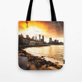 nyc skyline at dusk Tote Bag