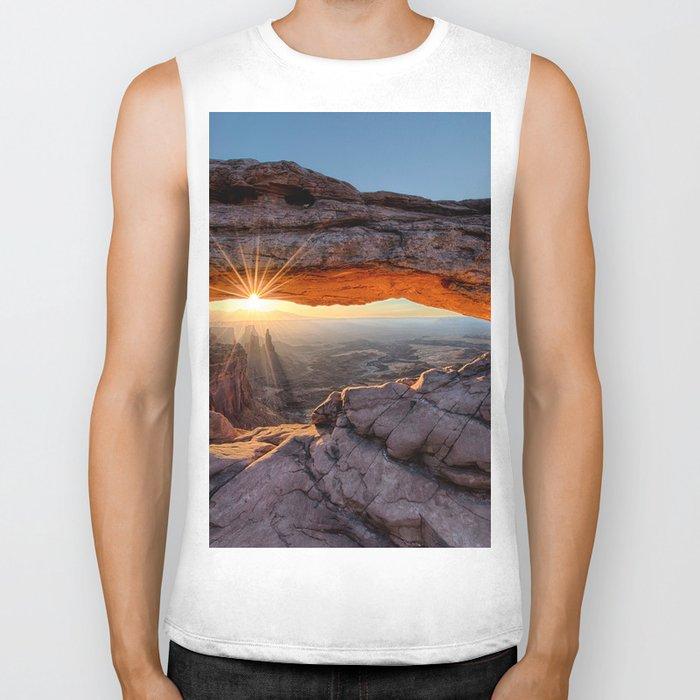 Mesa Arch Sunburst  by Lena Owens Biker Tank