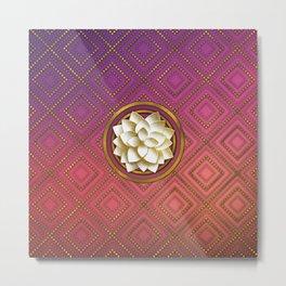 Elegant White & Gold Lotus flower Metal Print