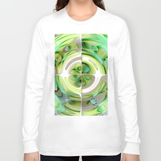 Lime and Green Abstract Collage Long Sleeve T-shirt