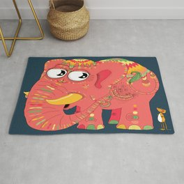 colorful Indian elephant and mouse Rug