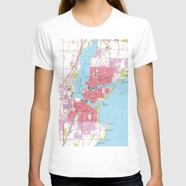 Vintage Map of Neenah Wisconsin (1955) T-shirt