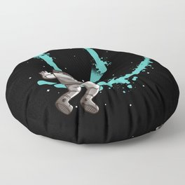 Smile Graffiti With Astronaut In Space Floor Pillow