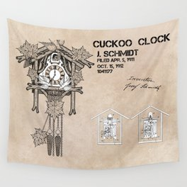 Cuckoo clock patent art Wall Tapestry