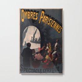 Ombres Parisiennes Vintage Travel Poster Metal Print