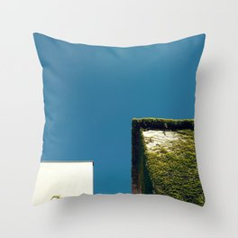 White Square, Green Square, Blue Sky Throw Pillow