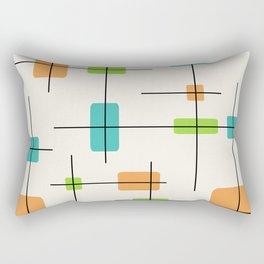 Rounded Rectangles And Squares Orange Turquoise Chartreuse Rectangular Pillow