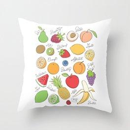 Fruit Doodles Throw Pillow