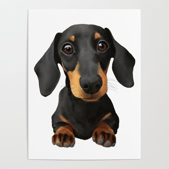 Cute Sausage Dog Poster By Peachyteastore Society6