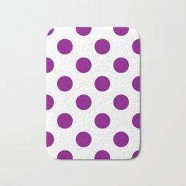 Large Polka Dots - Purple Violet on White Bath Mat
