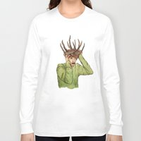 antlers Long Sleeve T-shirts featuring Antlers by caxcma