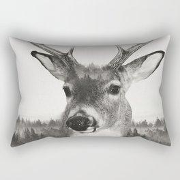 Whitetail Deer Black and White Double Exposure Rectangular Pillow