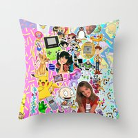 90s Throw Pillows featuring 90s, childhood. by eriicms