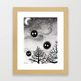 Kuro Gremlin Puffs Framed Art Print