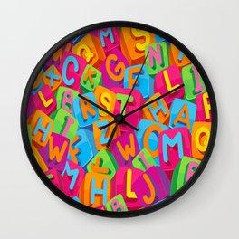 Seamless pattern kids alphabet t-shirt Wall Clock
