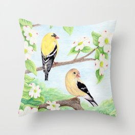 Goldfinches in Dogwood Throw Pillow