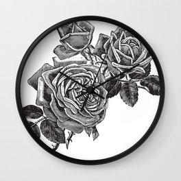 Engraved Roses Illustration Wall Clock