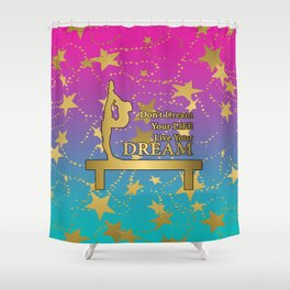 Gymnastics Live Your Dream with Pink to Blue Gradient  and Gold Stars Background Shower Curtain