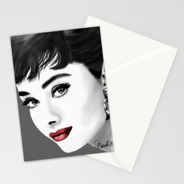 Portrait of Audrey Hepburn in gray-scale and red lips Stationery Cards