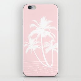 Millennial Pink White Tropical Palm Hawaii Illustration iPhone Skin