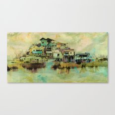Drifting Along Tonle Sap River, Cambodia Canvas Print