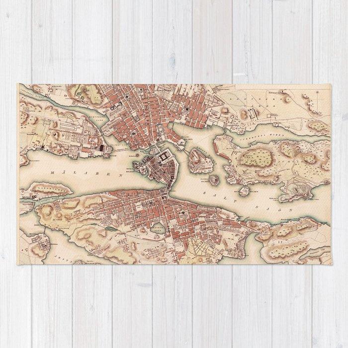 Map Of Stockholm 1853 Rug