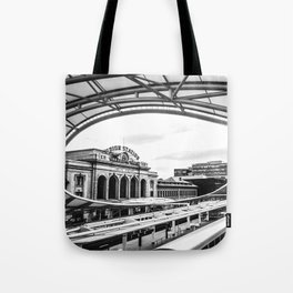 Union Station // Train Travel Downtown Denver Colorado Black and White City Photography Tote Bag