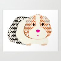 guinea pig Art Prints featuring Guinea Pig Patterned Guinea Pig by Upcyclepatch