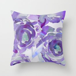 Purple Haze Painterly Floral Abstract Throw Pillow
