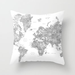Grayscale watercolor world map with cities Throw Pillow
