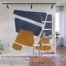 Colorful Minimalist Mid Century Modern Shapes Navy Blue Yellow Ochre Sharp Shapes Wall Mural