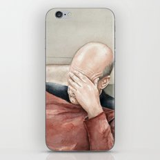 Picard Facepalm Meme Funny Geek Sci-fi Captain Picard TNG iPhone & iPod Skin