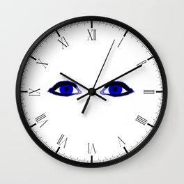 Two Blue Eyes Wall Clock