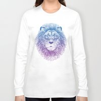 lion Long Sleeve T-shirts featuring Face of a Lion by Rachel Caldwell