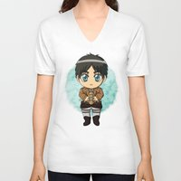 shingeki no kyojin V-neck T-shirts featuring Shingeki no Kyojin - Chibi Eren by Tenki Incorporated