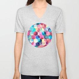 Topaz & Ruby Crystal Honeycomb Cubes Unisex V-Neck