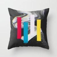 glitch Throw Pillows featuring Glitch by Mrs Araneae