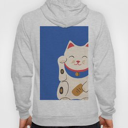 Blue Lucky Cat Maneki Neko Hoody