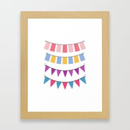 set of color buntings for party Framed Art Print