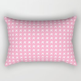 Pink pattern with white crosses Rectangular Pillow
