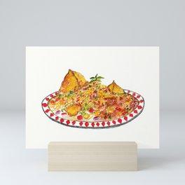 Samosa Chaat (Indian Street Food series) Mini Art Print