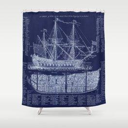 British Warship blueprint Shower Curtain