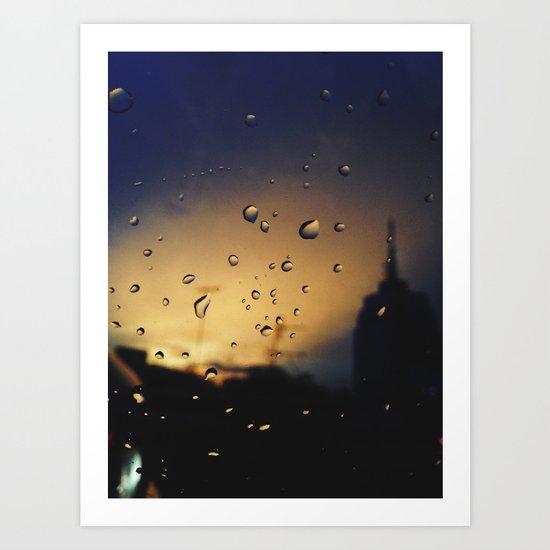 Rainy Traffic Art Print