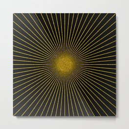 Black and gold glitter sun rays, gold glitter abstract geometry Metal Print