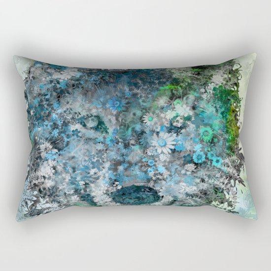 floral animals wolf Rectangular Pillow