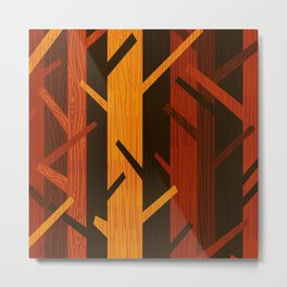 Retro Fall Woods by Friztin Metal Print