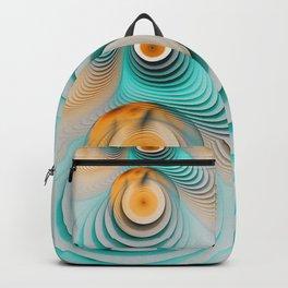 Creamy Beige-Teal Plateaus & Eggyolk Spiral Circles Backpack