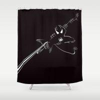 spider man Shower Curtains featuring SPIDER MAN by MISTER BLACKWHITE